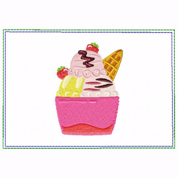 Ice Cream Small Money Purse 10 - In The Hoop Machine Embroidery Design
