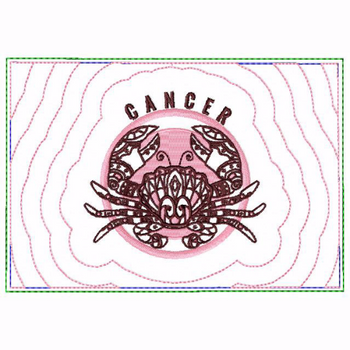 Cancer Zodiac Small Money Purse - In The Hoop Machine Embroidery Design