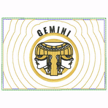 Gemini Zodiac Small Money Purse - In The Hoop Machine Embroidery Design