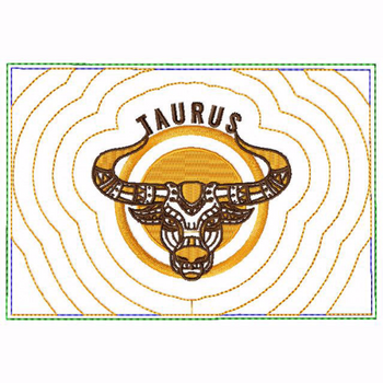 Taurus Zodiac Small Money Purse - In The Hoop Machine Embroidery Design