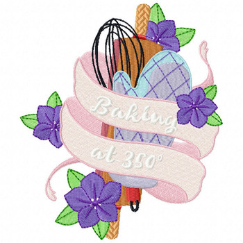 Baking at 350 Degrees - Baking Hobby Collection #05 - Machine Embroidery Design