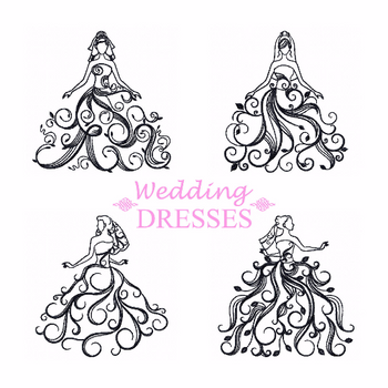 Wedding Dresses Collection of 4 Machine Embroidery Designs in Stitched