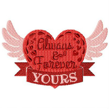 Always and Forever Yours - Valentines Hearts Typography Collection #04 - Machine Embroidery Design