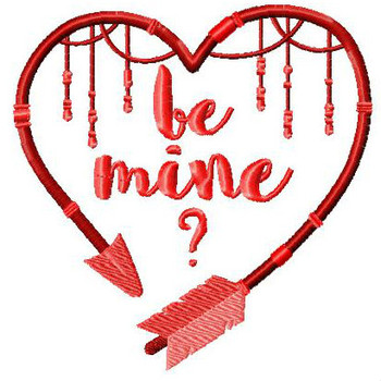 Be Mine? - Valentines Hearts Typography Collection #05 - Machine Embroidery Design