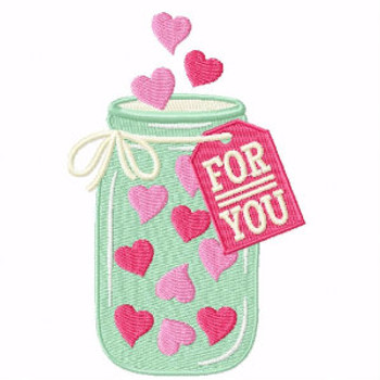 Jar Of Hearts - Machine Embroidery Design - General Valentine #04