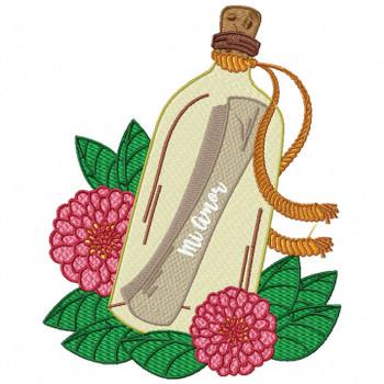 Mi Amor Letter Machine Embroidery Design - Love Letter in a Bottle #04