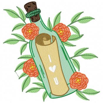 Green Bottle Love Letter Machine Embroidery Design - Love Letter in a Bottle #05