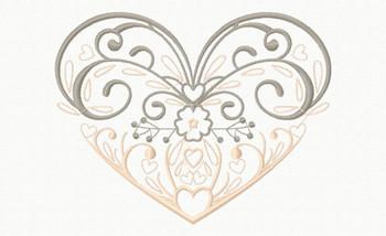 Abstract Heart Swirls #02 Machine Embroidery Design