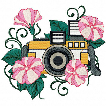 Floral Camera Machine Embroidery Design - Photography Hobby #03
