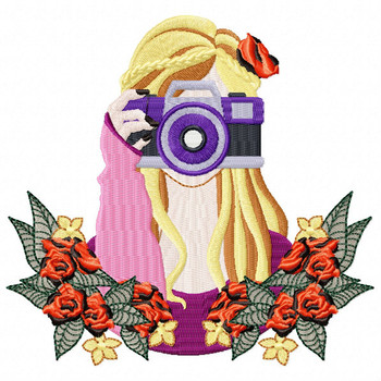 Girl with Camera Machine Embroidery Design - Photography Hobby #05