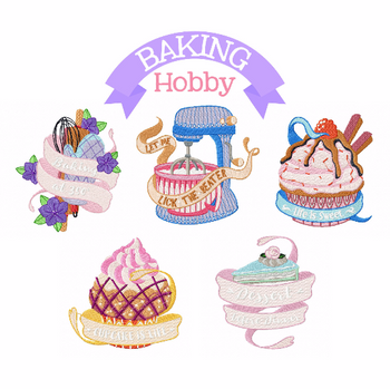 Baking Hobby Collection of 5 Machine Embroidery Designs