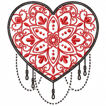 Mandala Heart Collection #02 Machine Embroidery Design