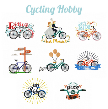 Cycling Hobby Collection of 8 Machine Embroidery Designs