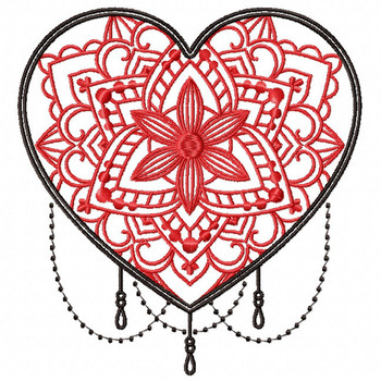 Mandala Heart Collection #04 Machine Embroidery Design