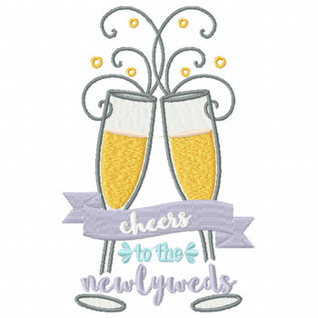Cheers to the Newlyweds Champagne - Champagne Toast Collection #05 - Machine Embroidery Design