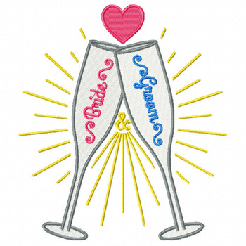 Bride & Groom Champagne - Champagne Toast Collection #06 - Machine Embroidery Design
