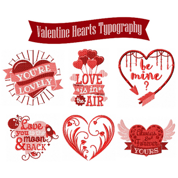 Machine Embroidery Designs - Valentines Hearts Typography Collection of 6