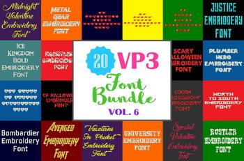 20 VP3 Font Bundle - Volume 6 - 20 Husqvarna Viking Machine Embroidery Fonts