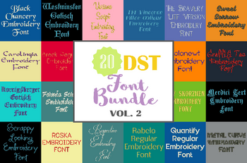 Machine Embroidery Fonts - 20 DST Font Bundle - Volume 2