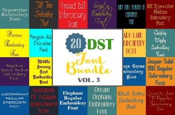 Machine Embroidery Fonts - 20 DST Font Bundle - Volume 3