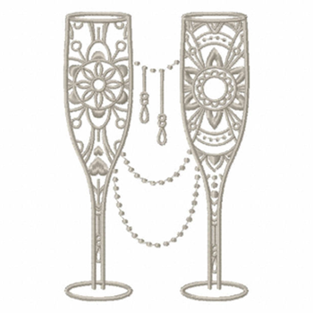 Ornamental Champagne Glass - Champagne Toast Collection #08 - Machine Embroidery Design