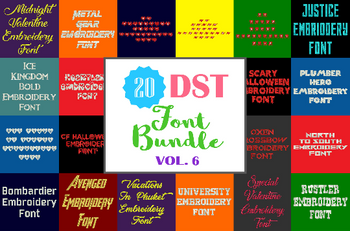 Machine Embroidery Fonts - 20 DST Font Bundle - Volume 6