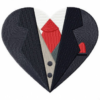 Red Tie Tuxedo - Bride & Groom Hearts - Groom Tuxedo Collection #01 Machine Embroidery Design