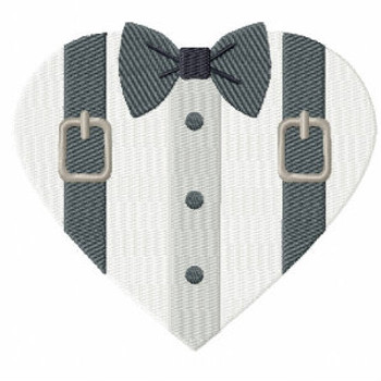 Suspender Tuxedo - Bride & Groom Hearts - Groom Tuxedo Collection #03 Machine Embroidery Design