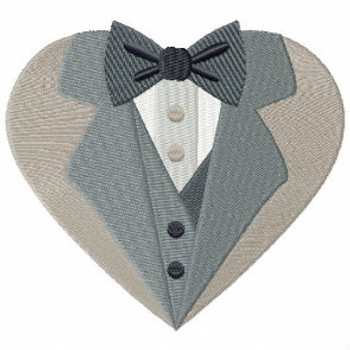 Black Tie Tuxedo - Bride & Groom Hearts - Groom Tuxedo Collection #04 Machine Embroidery Design