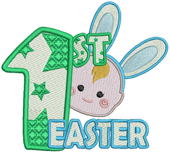 Baby's First Easter #04 Stitched and Applique Machine Embroidery Design