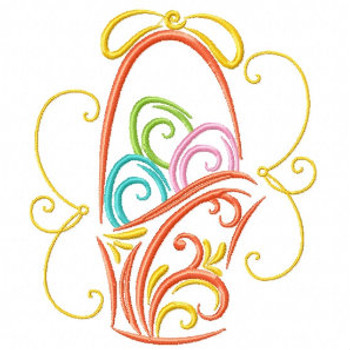 Easter Egg Basket - Abstract Easter Collection #04 Machine Embroidery Design