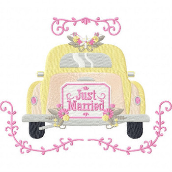Classic Just Married Car - Vintage Wedding Collection #05 Machine Embroidery Design
