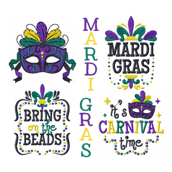 Machine Embroidery Designs - Mardi Gras Collection of 4