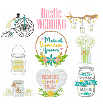 Machine Embroidery Designs - Rustic Wedding Collection of 19