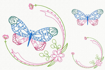 Beautiful Butterfly and Floral #02 Machine Embroidery Designs