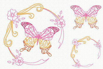 Beautiful Butterfly and Floral #04 Machine Embroidery Designs