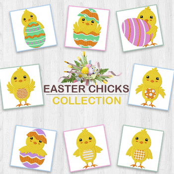 Machine Embroidery Designs - Easter Chick Collection of 8
