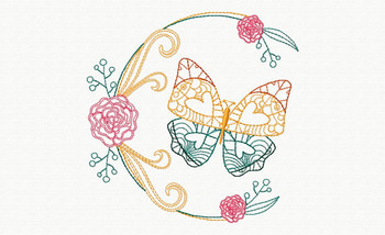 Beautiful Butterfly and Floral #05 Machine Embroidery Designs