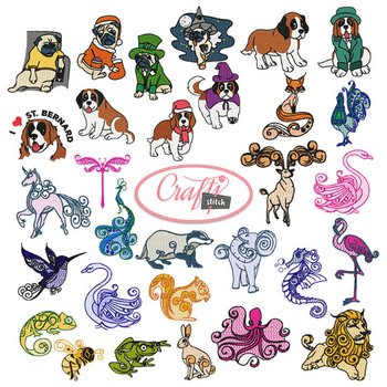 4x4 Hoop Animal Special - 105 Animal Machine Embroidery Designs!