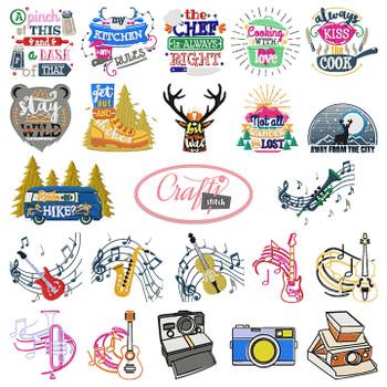 4x4 Hoop Hobbies Special - 69 Hobbies Machine Embroidery Designs!