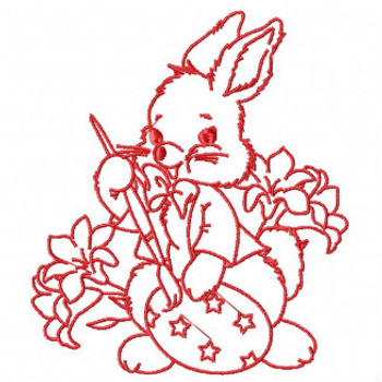 Easter Redwork Bunnies Collection #01 Machine Embroidery Design