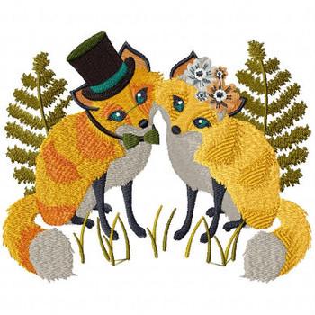 Fox Couple - Wedding Animals Collection #02 Machine Embroidery Design