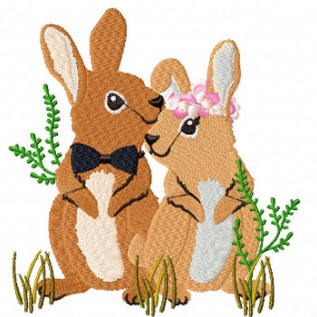 Rabbit Couple - Wedding Animals Collection #03 Machine Embroidery Design
