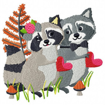 Raccoon Couple - Wedding Animals Collection #05 Machine Embroidery Design