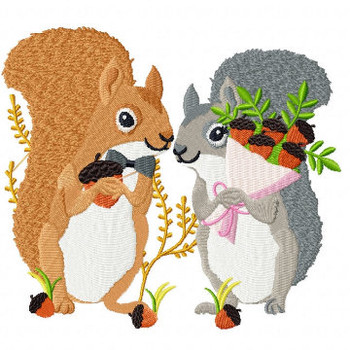 Squirrel Couple - Wedding Animals Collection #06 Machine Embroidery Design