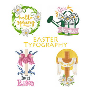 Easter  Machine Embroidery Designs - Typography Collection of 8