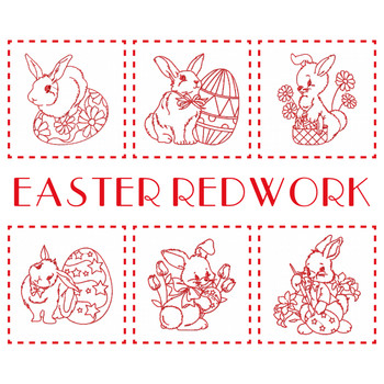 Machine Embroidery Designs - Easter Redwork Bunnies Collection of 6