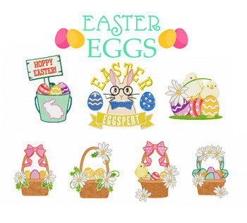 Machine Embroidery Designs - Easter Egg Collection of 7