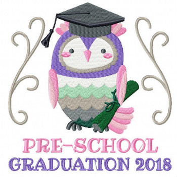 Owl Preschool Typography Collection #02 Machine Embroidery Design