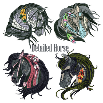 Machine Embroidery Designs - Detailed Horses Collection of 4